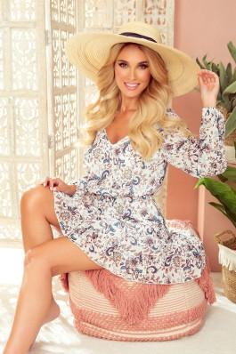 295-2 BAKARI Stilinga gėlėta šifoininė suknelė
