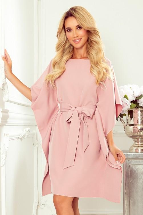 287-11 Įspūdinga pastelinės rožinės spalvos suknelė