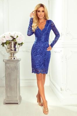 170-8 Elegantiška mėlyna suknelė su nėriniais