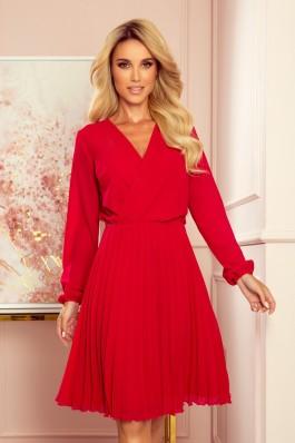 313-5 ISABELLE Raudona prabangi plisuota suknelė