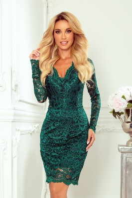 170-9 Žalia suknelė su nėriniais