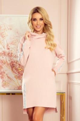 322-2 Vėliūrinė rožinė laisvalaikio suknelė