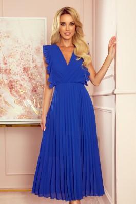 315-2 EMILY Prabangi plisuota mėlyna ilga suknelė