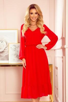 304-3 Raudona šifoninė suknelė