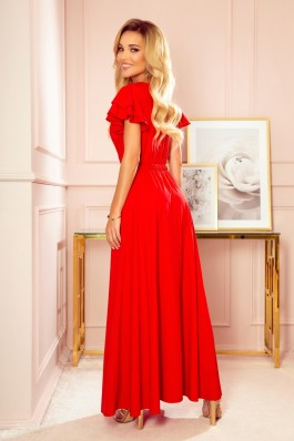 310-2 LIDIA Ilga raudona puošni suknelė