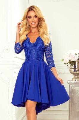 210-12 NICOLLE - Prabangi mėlyna nėriniuota suknelė