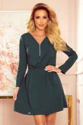 283-2 NANCY Patogi žalia suknelė su užtrauktuku