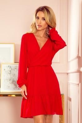 329-2 LAUREN Raudona klasikinė šifoninė suknelė