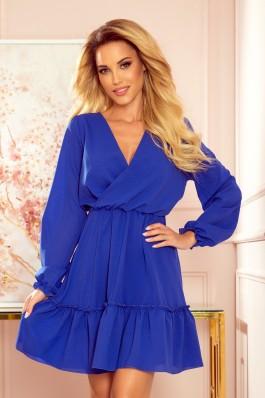 329-1 LAUREN Mėlyna klasikinė šifoninė suknelė