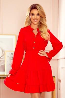 332-2 Prabangi raudona suknelė su sagomis