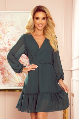 329-3 LAUREN Elegantiška žalia šifoninė suknelė