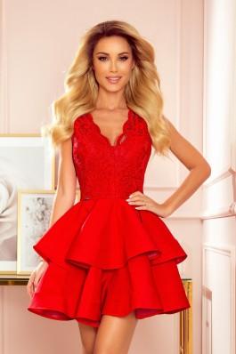 321-1 Raudona prabangi puošni suknelė