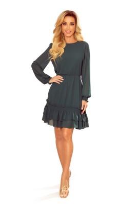 336-2 Žalia šifoninė puošni suknelė