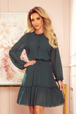 335-1 TRACY Žalia šifoninė susagstoma suknelė