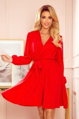 339-1 BINDY Elegantiška raudona plazdanti suknelė