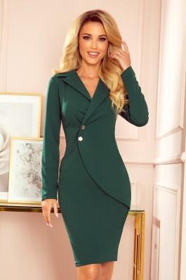340-1 Elegantiška žalia suknelė su sagomis