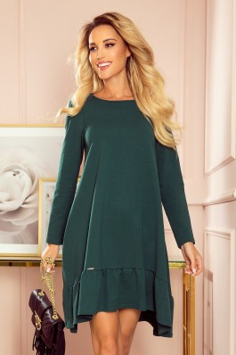 337-1 Stilinga žalia trapecijos formos suknelė
