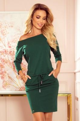 13-127 Žalia laisvalaikio suknelė su kišenėmis