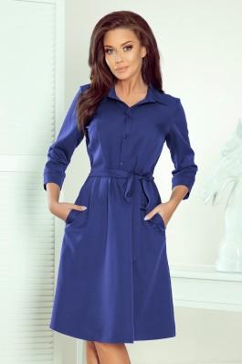 286-2 SANDY Klasikinė marškinių tipo mėlyna suknelė