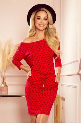 13-128 Raudona laisvalaikio suknelė su taškeliais
