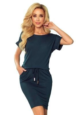 139-7 Tamsiai žalia laisvalaikio suknelė