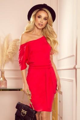 249-3 CASSIE - Raudona suknelė su dirželiu