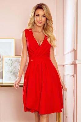 338-1 ELENA Elegantiška raudona suknelė su iškirpte