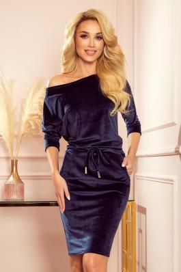 13-130 Tamsiai mėlyna veliūrinė laisvalaikio suknelė