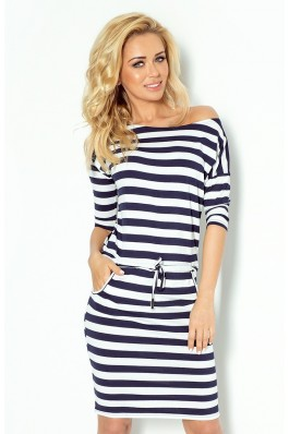 Jūreiviška dryžuota suknelė 2x2 cm juostelėmis 13-46 Numoco