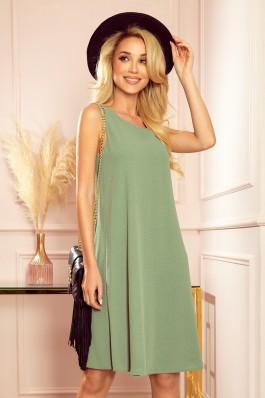 296-6 VICTORIA Alyvuogių spalvos aukštos kokybės suknelė