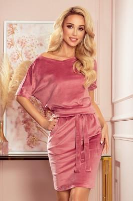 249-4 CASSIE - Veliūrinė rožinė suknelė