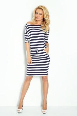 13-46 Jūreiviška dryžuota suknelė 2x2 cm juostelėmis Numoco