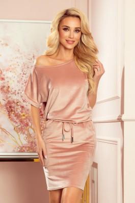 139-9 Rožinė veliūrinė laisvalaikio suknelė