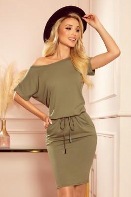 139-8 Alyvuogių spalvos laisvalaikio suknelė