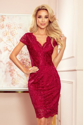 316-5 Nėriniuota burgundiška suknelė