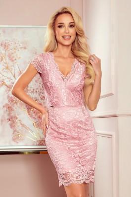 316-6 Rožinė nėriniuota suknelė
