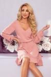 295-5 BAKARI Pastelinė rožinė aukštos kokybės suknelė