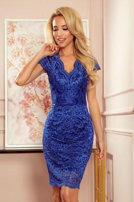 316-4 Nėriniuota mėlyna suknelė