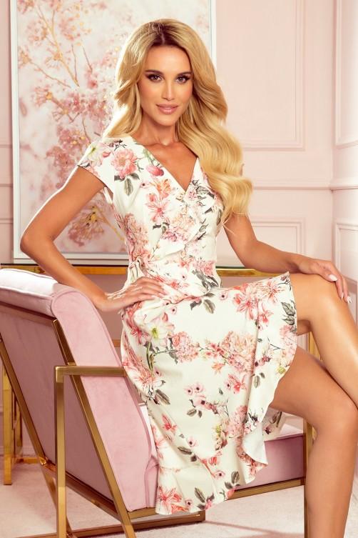349-1 Gėlėta voko formos suknelė