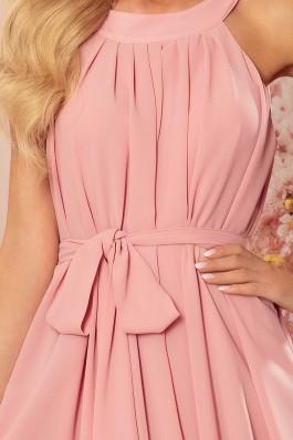 350-2 ALIZEE - Puošni surišama šifoninė rožinė suknelė