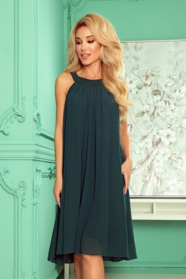 350-4 ALIZEE - puošni surišama tamsiai žalia šifoninė suknelė